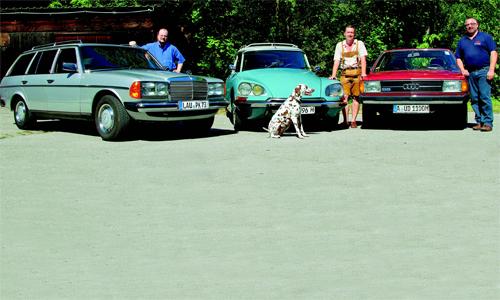 Audi 100 5S Avant (C2), Citroën DS 21 Break, Mercedes-Benz 200T (W 123)